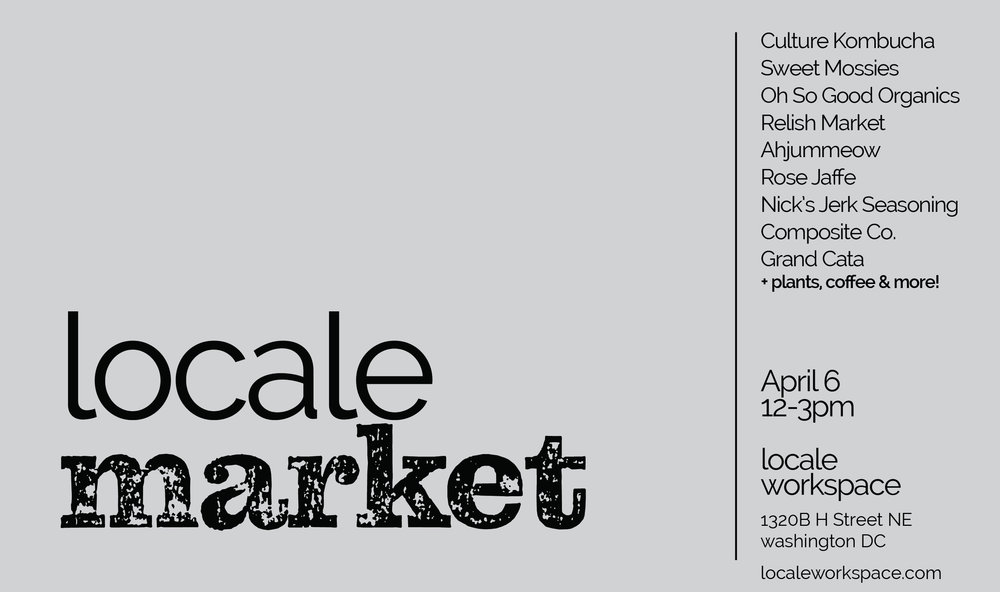 The second of our Saturday market series at Locale Workspace! Join us from 12-3pm to shop 10 local vendors and hangout on our patio.
