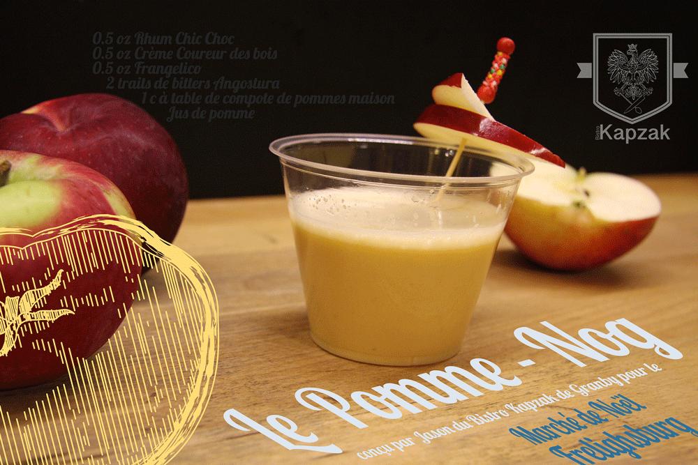 Le Pomme-Nog est de retour ! - Un bar du marché, sous le grand chapiteau blanc, venez vous déguster notre délicieux cocktail spécialement conçu par Jason du Bistro Kapzak de Granby.
