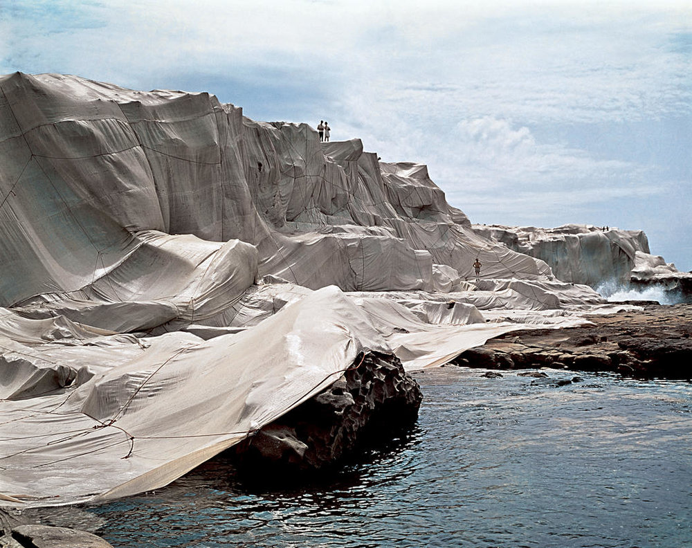 Wrapped Coast, One Million Square Feet, Little Bay, Sydney, Australia, 1968-69.  Image: Christo and Jeanne-Claude, Shunk-Kender