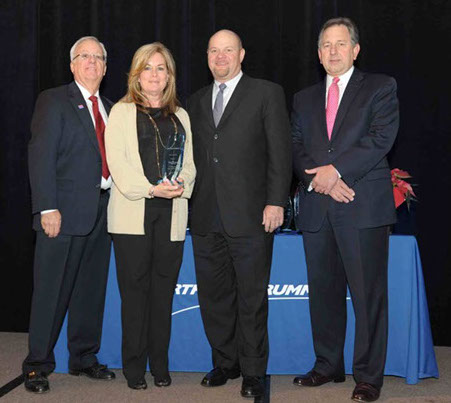 (Left to right) William F. Ahlberg, Manager, Socio-Economic Business Programs, Northrop Grumman Technical Services; Debbie Lucas, Senior Manager of Government Programs, Western Aero Repair Services, Inc.;Scott Balfanz, President, Western Aero Services, Inc.; Victor G. Obringer, Director, Global Supply Chain, Northrop Grumman Technical Services
