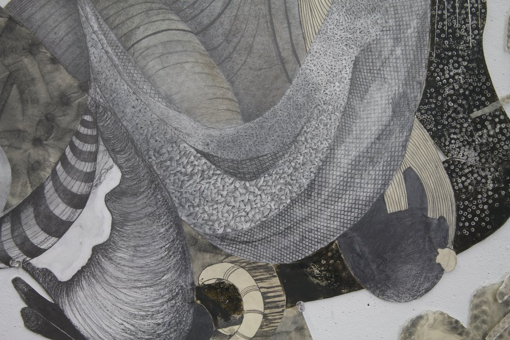 "Passed Standards-Detail, 2012    50"" x 72""   Graphite, Etching ink on archival board"