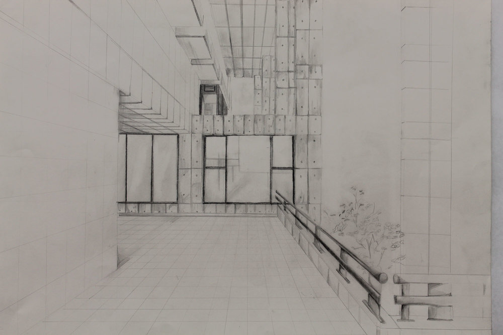 Perspective drawing from observation . Class: Studio foundation