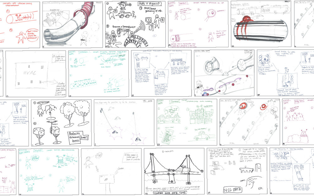Ideation sketches were done by all team members