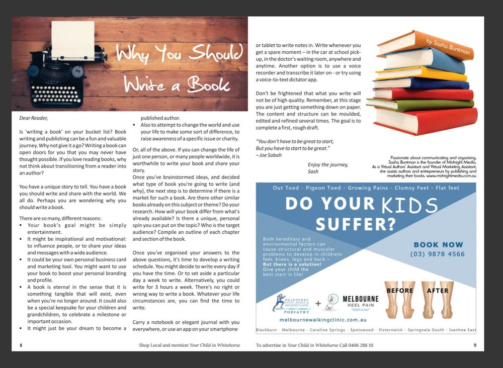 This article was first published in two different publications - Your Child in Whitehorse, and Your Child in Banyule and Nillumbik magazines. Please visit the Your Child Magazines website for more information.