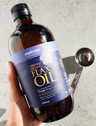 Melrose certified organic flaxseed oil (I currently use and love) & a tablespoon.