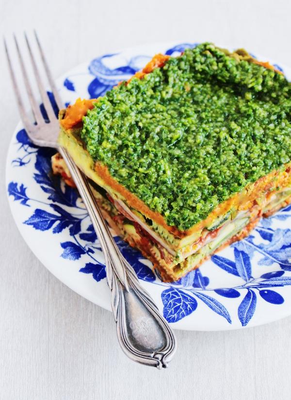 Vegan Lasagne with Basil Pesto topping