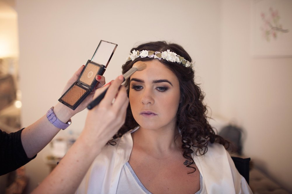 Cheshire wedding photographer bridal prep makeup bride photography