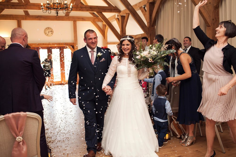 Indoor confetti throwing at a cheshire wedding 2018
