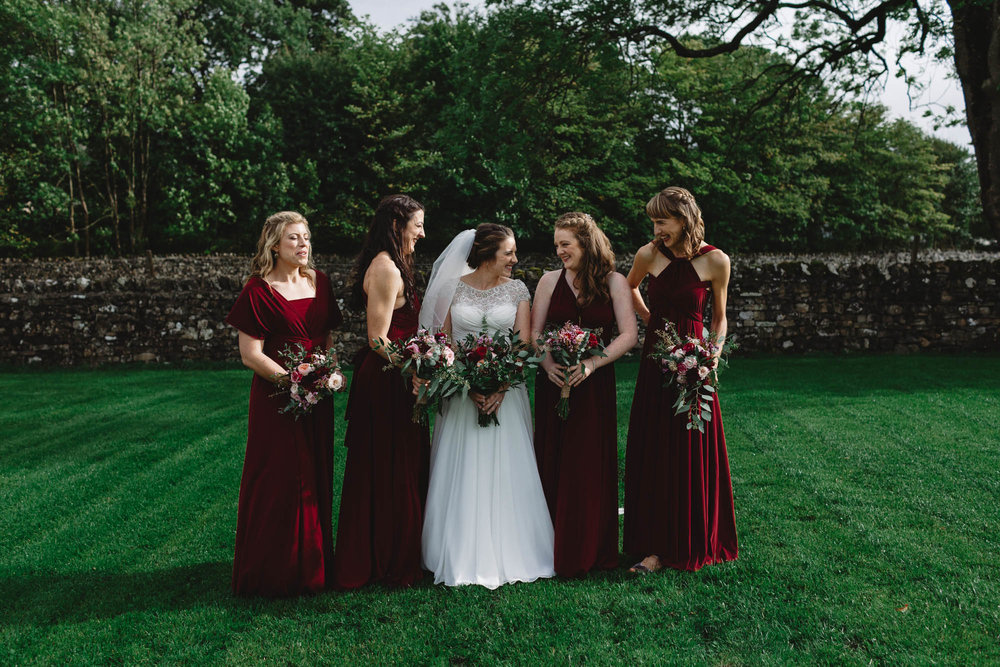 Photography from a North Yorkshire Wedding, Leeds, romantic, outdoor ceremony, DIY wedding, candid, relaxed fun photographer Huddersfield, bridesmaids