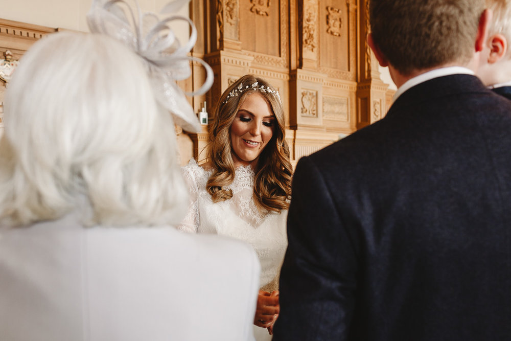 Bride showing her ring