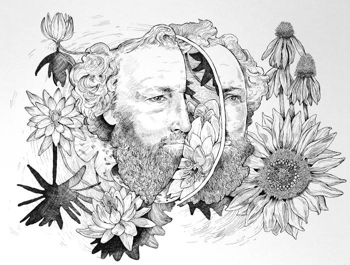 "Two Faced Men, Sunflowers and Waterlilies 8x24"" Ink on Paper 2015"