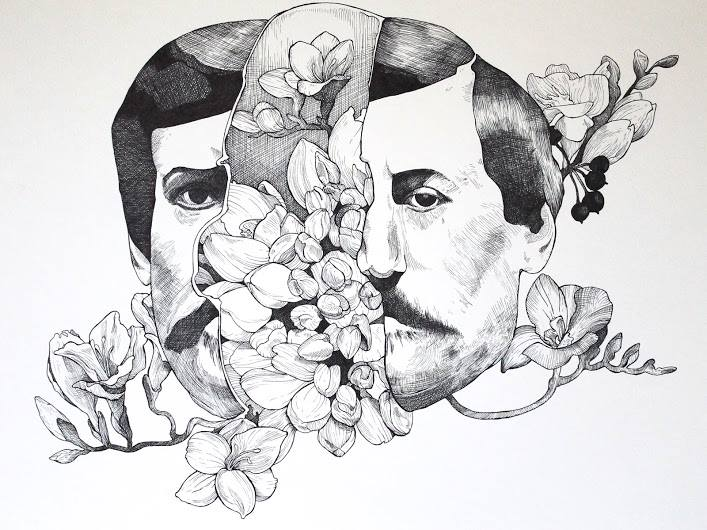 "Two Faced Men, Hollyhock 8x24"" Ink on Paper 2015"