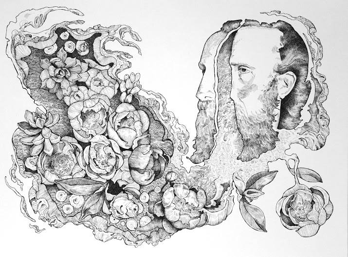 "Two Faced Men, Coral Peonies 8x24"" Ink on Paper 2015"