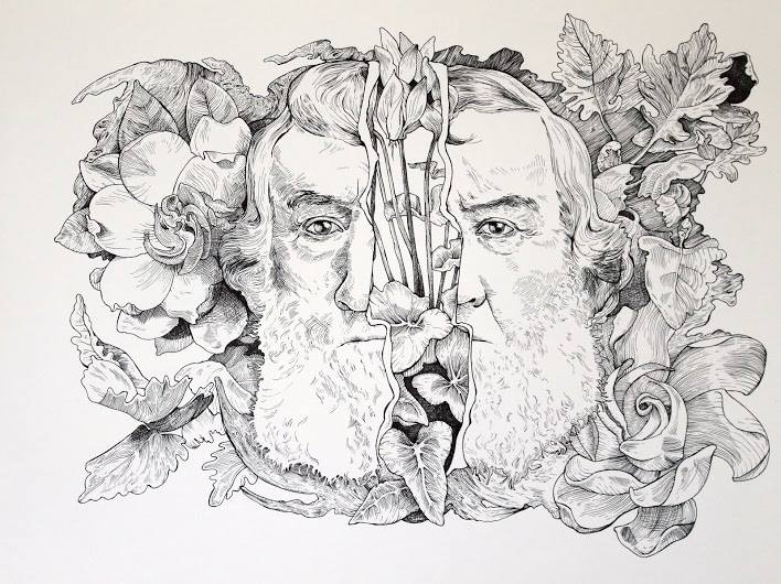 "Two Faced Men, Magnolia 8x24"" Ink on Paper 2015"
