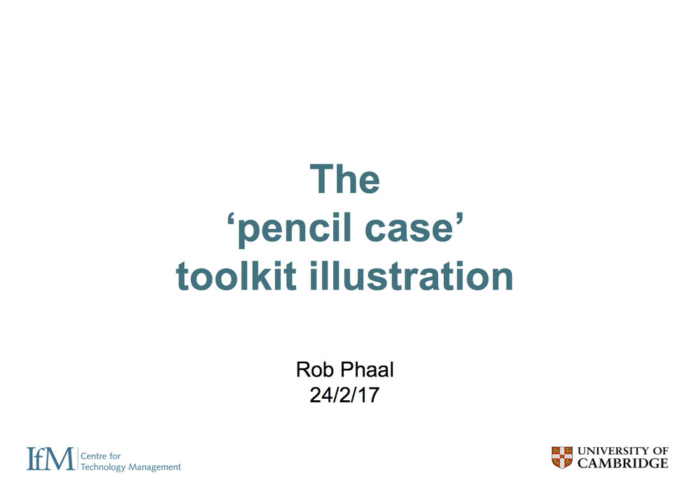 This slideshow demonstrates how three generic tools can combine at two levels to create a scalable toolkit platform, focusing on the simple 'pencil case'.