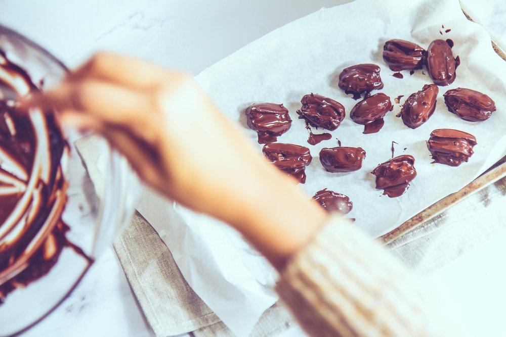 chocolate covered stuffed dates