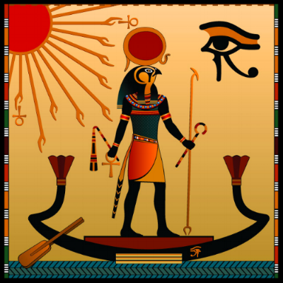 Ra:  Ancient Egyptian sun god believed to rule in all parts of the created world: the sky, the earth, and the underworld. He was associated with the falcon or hawk.
