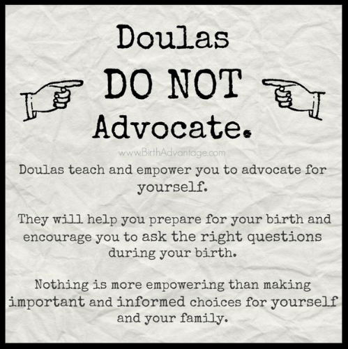 """Figure 3: """"Doulas DO NOT Advocate"""" image containing the """"empowerment argument"""" against advocacy."""