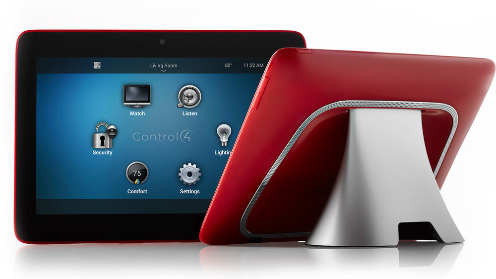 Control4 T3 Tabletop Touch Screen Control at Creative Audio in Winnipeg (Red)