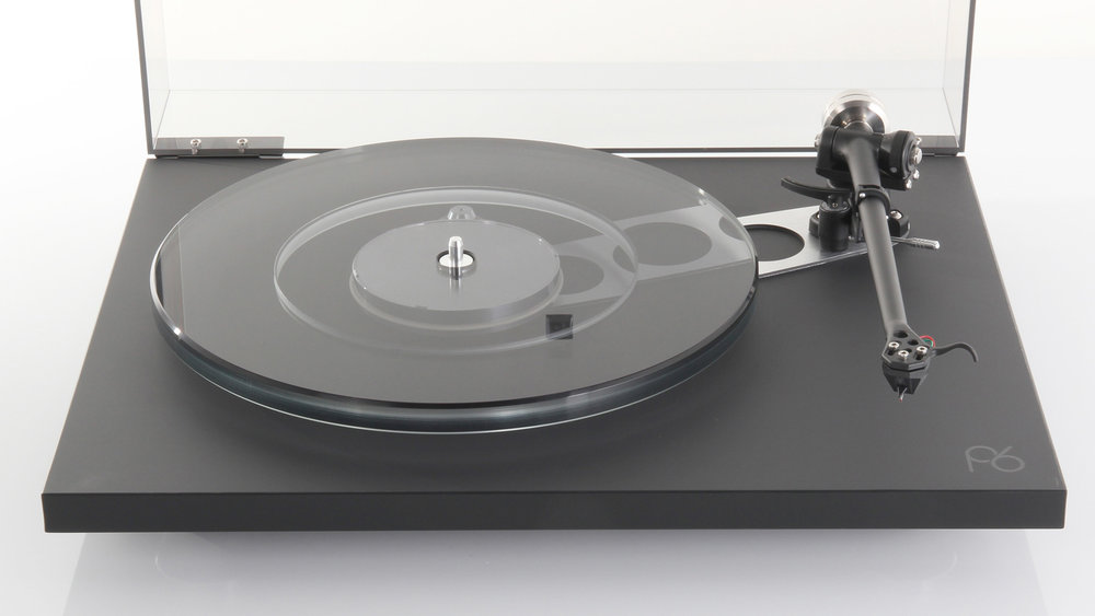 Rega Planar 6 Turntable (front, cover open) in Winnipeg at Creative Audio