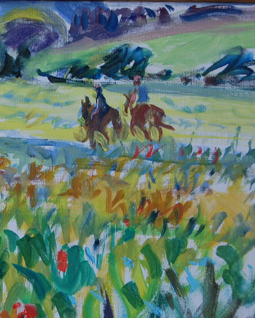 "Riders in Poppy Field (detail), 14 x 21 "", oil on linen, ©2001 Robin Oliver"
