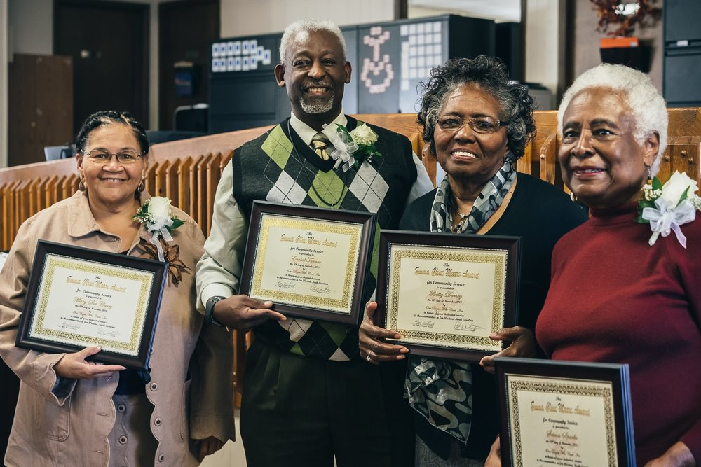 2018 Emma Cline More Award winners: (left to right) Mary Sue Casey, Elder Eurial Turner, Betty Dorsey, and Selma Sparks