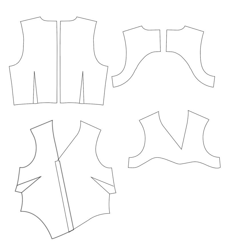 Here shows you the facing pieces of our Asymmetric Hem Dress pattern. The facing pieces bag out with the neckline and armhole to finish them.