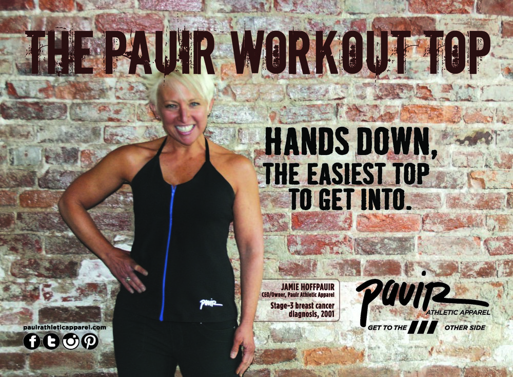 Just slip our 2-sided promo cards into your treatment packets telling your patients about the benefits of exercise and how the Pauir Workout Top can help: no raising arms—it slips on like a jacket. -