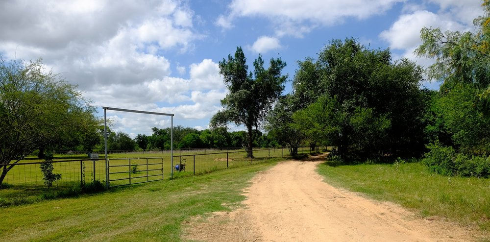Ranch road running alongside Countryside Memorial Park, La Vernia, Texas  photo by Tom Bailey