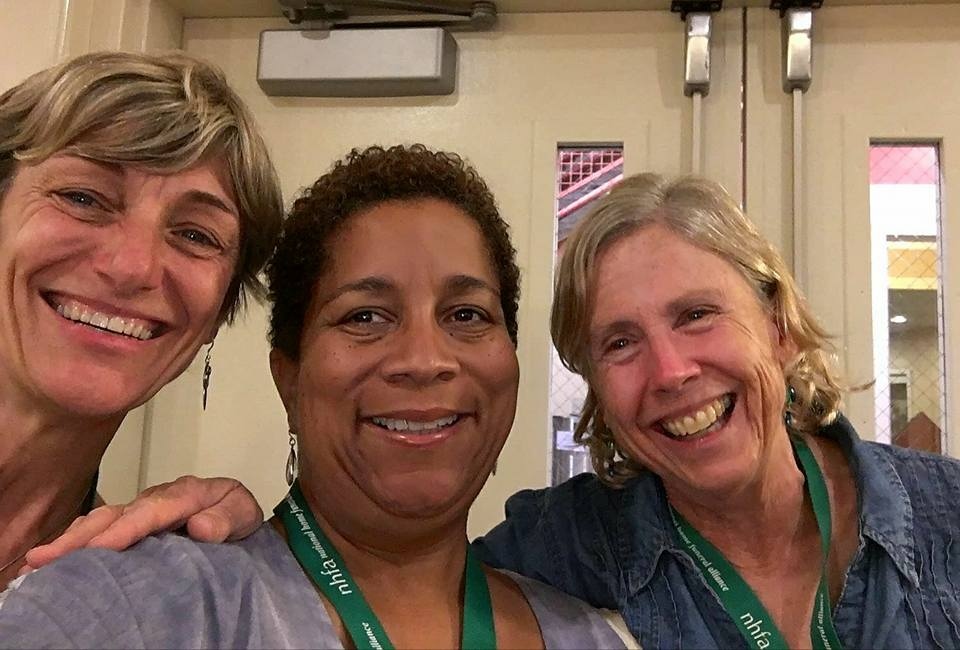 Anne Jungerman, home funeral guide and inspiration for Tulocay Cemetery's green burial project; Veronica, my roommate; and me, at the NHFA conference.
