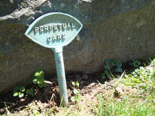 Perpetual care marker at Forest Hill Cemetery, Madison, WI. Photo by Claire S. Bjork