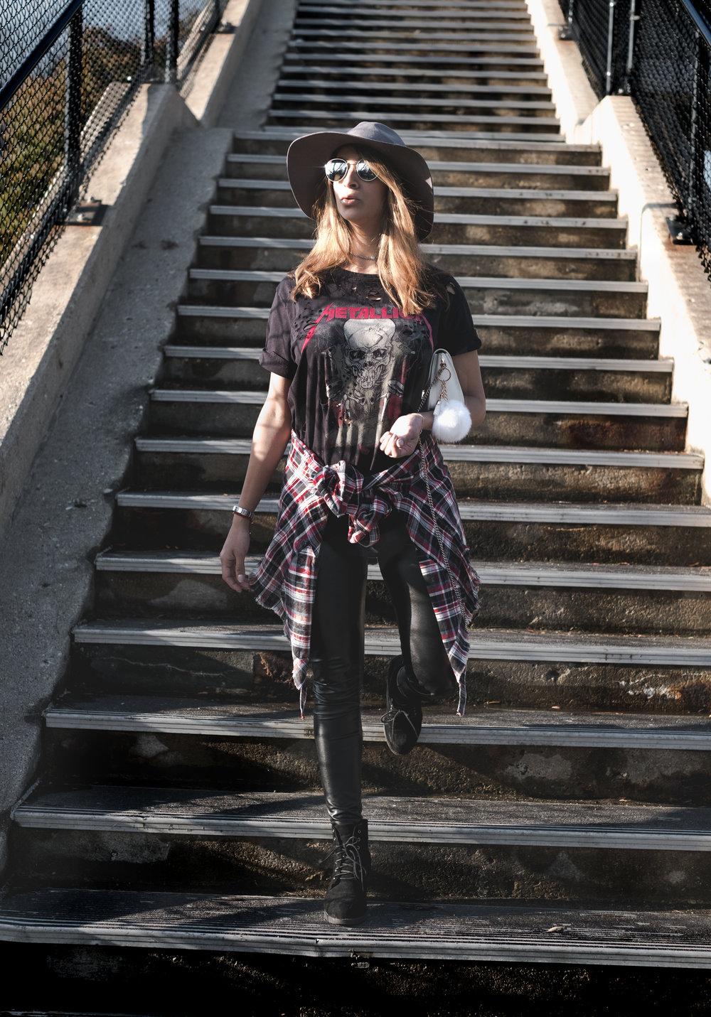 hat - H&M | shirt - Topshop | plaids blouse - Zara | pants - Aritzia | shoes - Topshop