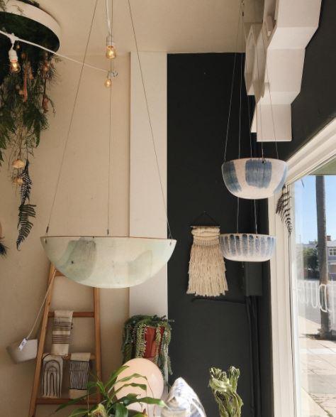 Hanging planters by Black Phoebe Ceramics