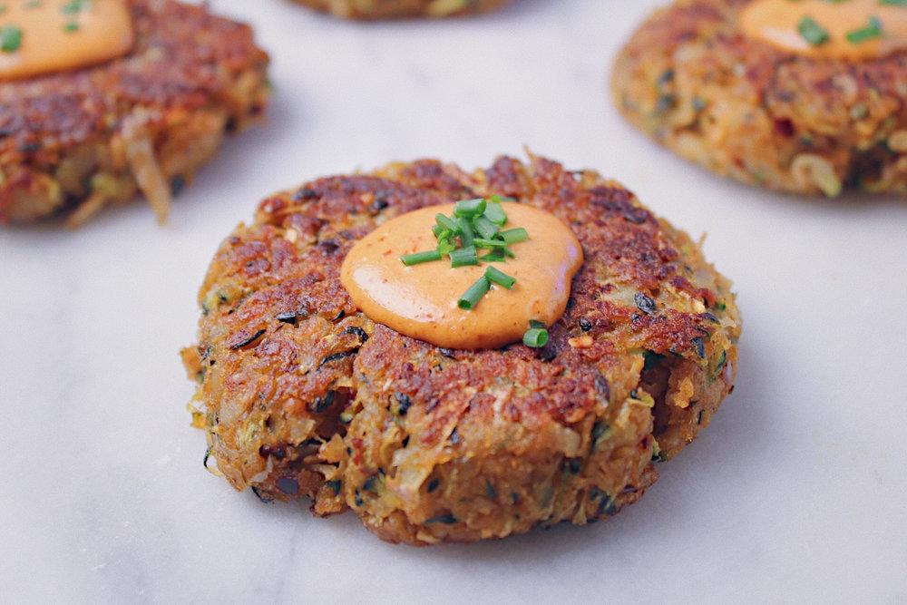 Zucchini Potato Fritter Closeup