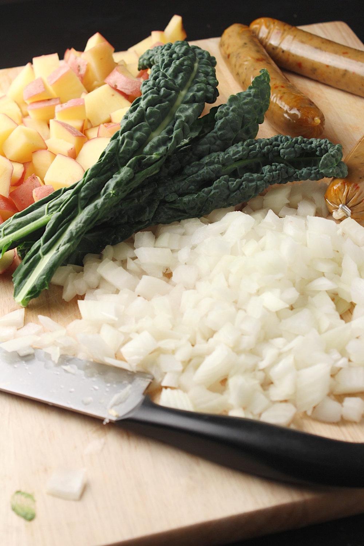 Vegan Sausage Potato and Kale Soup Ingredients