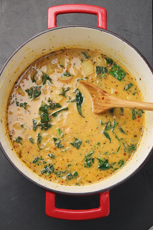 Kale Sausage Soup Overhead