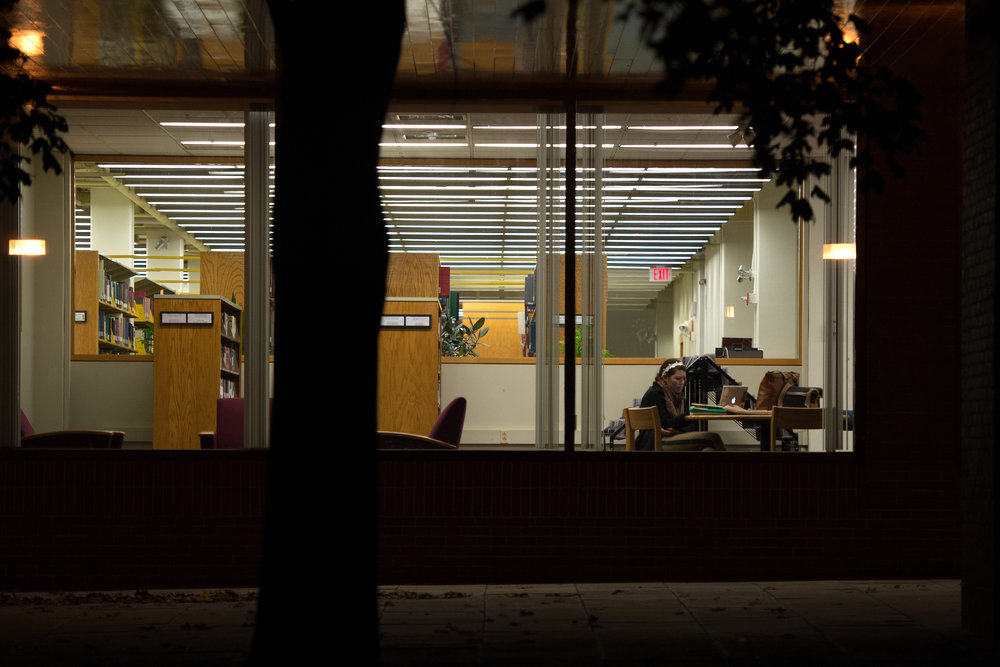 Students work in Ladd Library at Bates College on October 11, 2012.