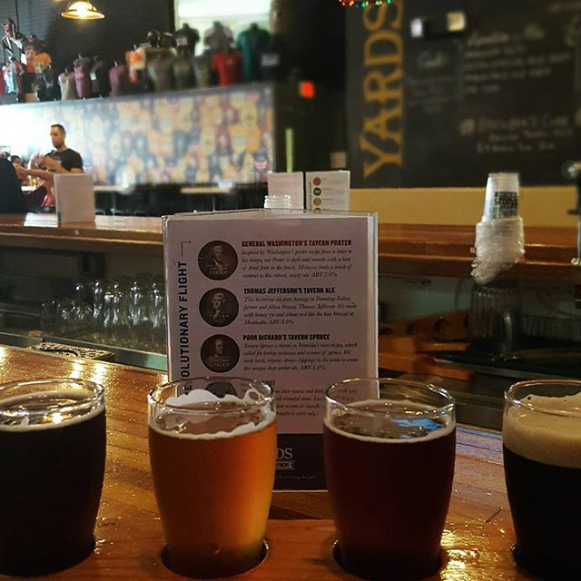 A revolutionary flight down at @yardsbrew on the first Friday of the Fall. #FlightFriday #HopsAndStops
