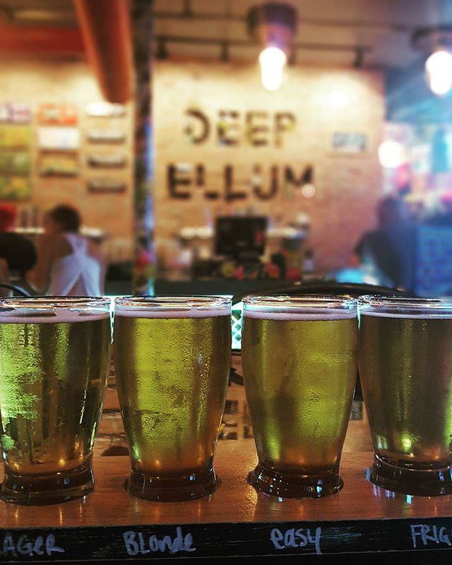 Light in color and full of flavor. Loving this lineup from @deepellumbrewing in Dallas. #HopsAndStops
