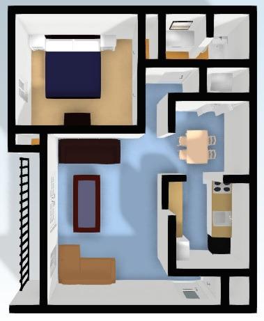 1 x 1 (700 sq. ft.)