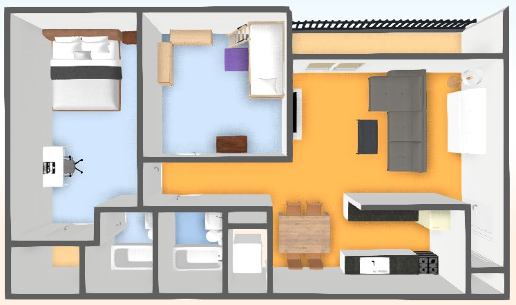 2 x 2 (900 sq. ft)