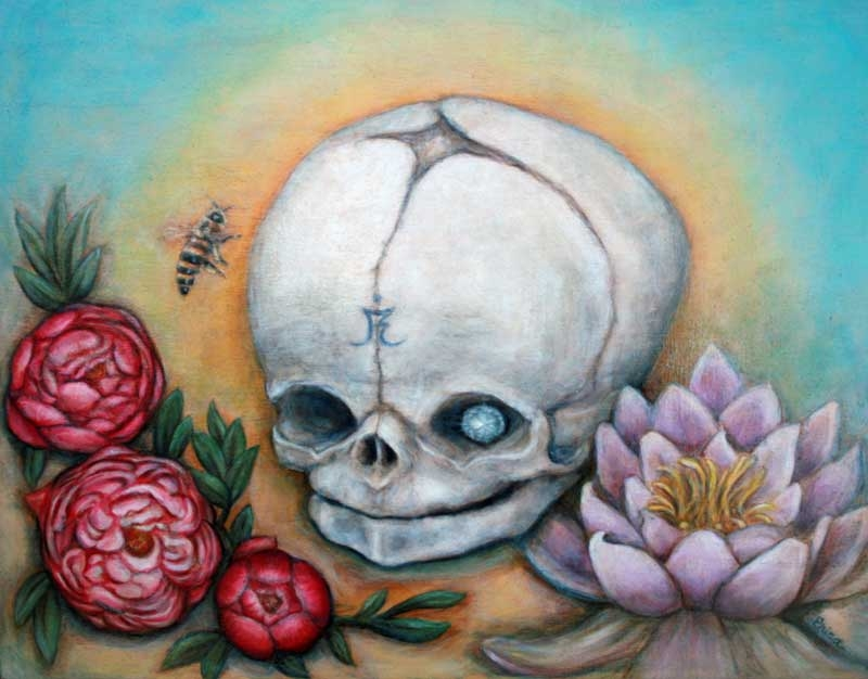 May Day, Skull show, MF Gallery Genoa and Brooklyn, oil on wood