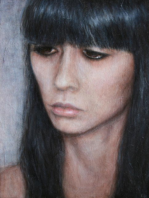 sarah, acrylic on wood and japanese paper