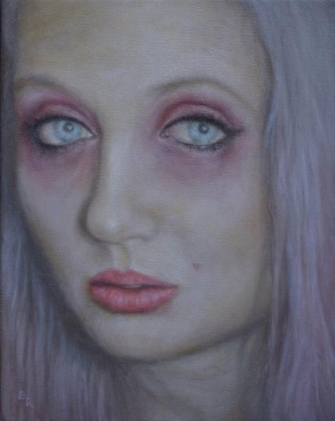 "love junkie, viola box, genova, italy. oil & acrylic on canvas 8x10"""