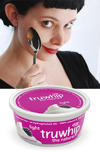 Advertising creative for truwhip lady holding spoon