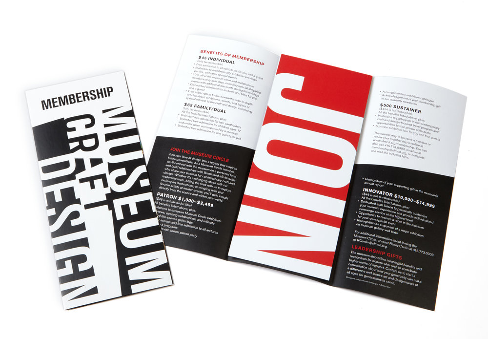 Advertising and marketing brochure collateral for museum