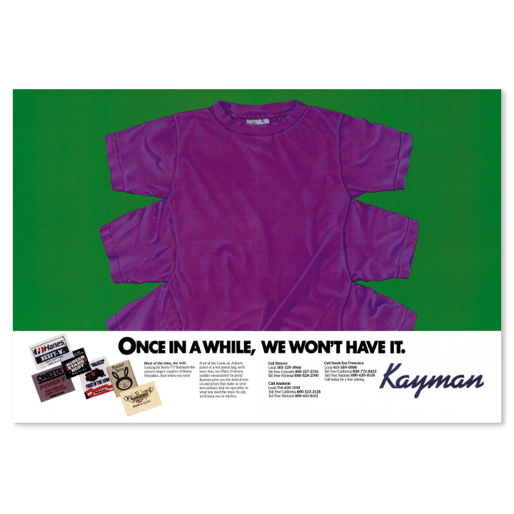 Kayman purple t-shirt print advertisement