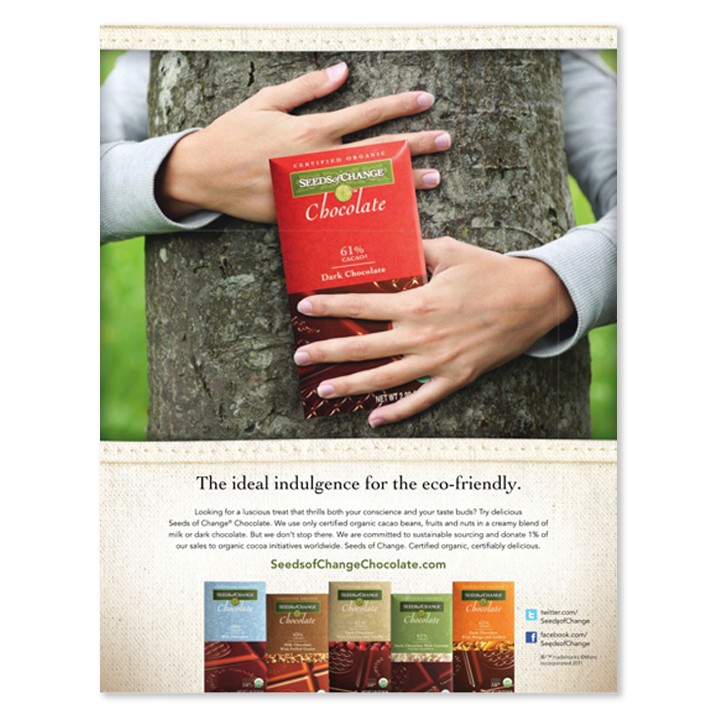 Seeds of Change chocolate hugging tree print advertisement