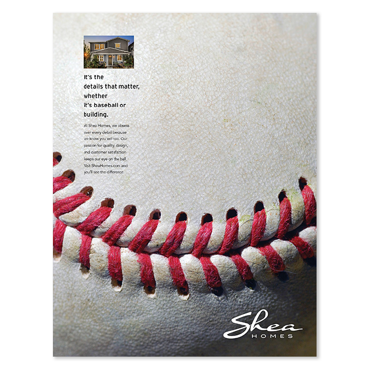 Shea Homes giant baseball print advertisement