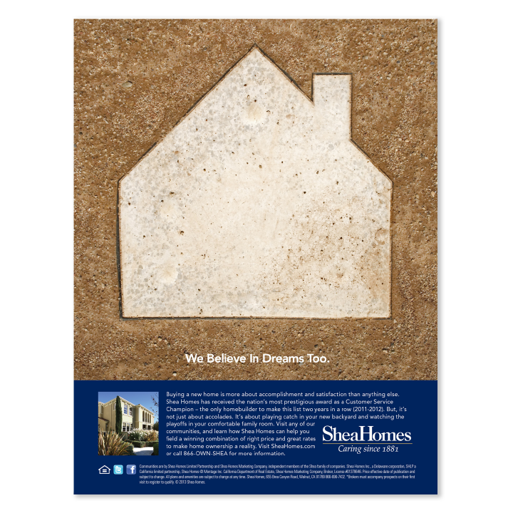Shea Homes baseball base print advertisement